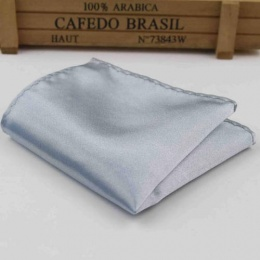 Boys Silver Satin Pocket Square Handkerchief