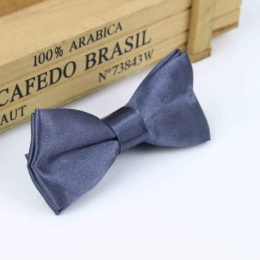 Boys Smoked Grey Satin Bow Tie with Adjustable Strap