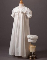 Baby Boys Millie Grace 'Terri' Linen Look Cotton Christening Gown & Hat