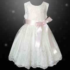 Girls Ivory Floral Lace Dress with Baby Pink Satin Sash