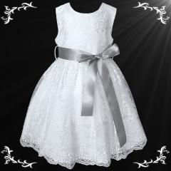 Girls White Floral Lace Dress with Silver Satin Sash