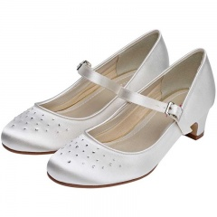 Verity by Rainbow Club Ivory Satin Crystal Shoes