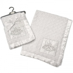 White Rose Fleece Christening Wrap with Cross & Doves