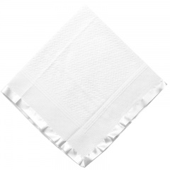 White Acrylic Christening Shawl with Wide Satin Trim