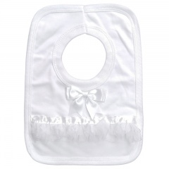 White Cotton Bib with Bow & Frilly Organza