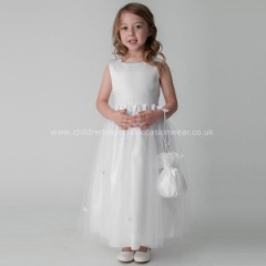 Girls White Organza Satin Butterfly Dress & Dolly Bag