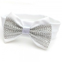 Baby Girls White Cotton Headband with Silver Sparkly Bow