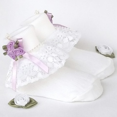 Girls White Lace Socks with Lilac Rosebud Cluster