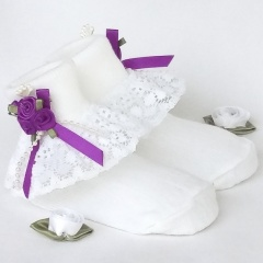 Girls White Lace Socks with Purple Rosebud Cluster