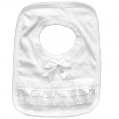 White Cotton Bib with Lace & Satin Bow