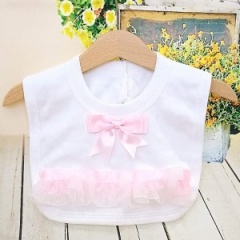 White Cotton Bib with Pink Bow & Frilly Organza