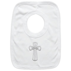 White Cotton Bib with Large Silver Cross