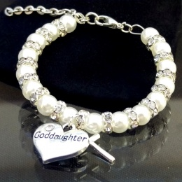 Baby Girls Ivory Goddaughter Christening Bracelet with Cross Charm