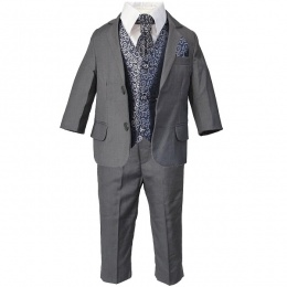Boys Grey & Navy Swirl 6 Piece Slim Fit Suit