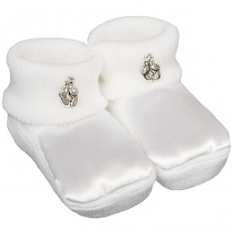 White Satin Booties with Silver Baby Feet Charms