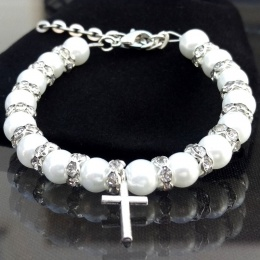 Baby Girls White Pearl & Crystal Christening Bracelet with Cross Charm