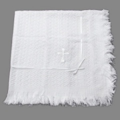White Baby Christening Shawl with Embroidered Cross