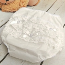 Baby Girls Ivory Diamante Bow Frilly Lace Knickers