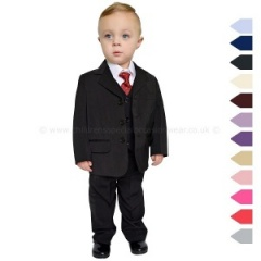 Boys Black Classic 5 Piece Jacket Suit