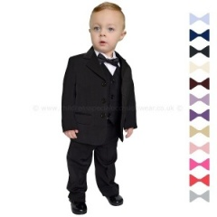 Baby Boys Black 5 Piece Evening Bow Tie Suit