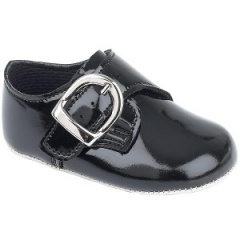 Baby Boys Black Patent Buckle Pram Shoes 'Baypods'
