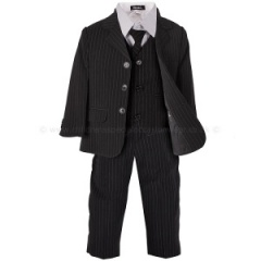 Boys Black & White 5 Piece Pinstripe Suit