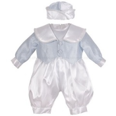 Baby Boys Blue & White Check 3 Piece Satin Christening Romper