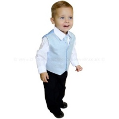 Boys Diamond Pale Blue & Black 4 Piece Waistcoat Suit