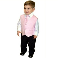 Boys Diamond Pale Pink & Black 4 Piece Waistcoat Suit