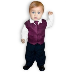 Boys Diamond Purple & Black 4 Piece Waistcoat Suit
