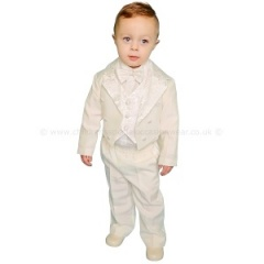 Baby Boys Ivory 5 Piece Tuxedo Tail Suit