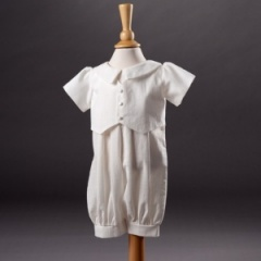 Baby Boys Millie Grace 'Ethan' Linen Look Cotton Christening Romper Suit