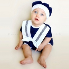 Baby Boys Navy Sailor Style Christening Romper & Hat
