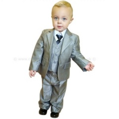 Boys Shiny Silver 5 Piece Jacket Suit