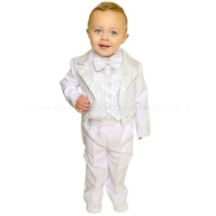 Baby Boys White 5 Piece Tuxedo Tail Suit