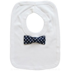 Baby Boys White Cotton Bib with Navy Dickie Bow Tie
