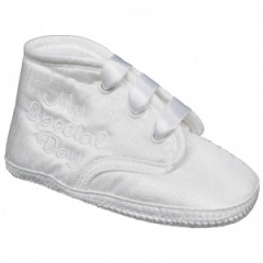 Baby Boys White Dupion My Special Day Christening Pram Shoes