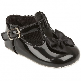 Baby Girls Black Patent Baypods Pram Shoes