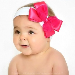 Baby Girls Cerise & White Cotton Headband with Large Satin & Organza Bow