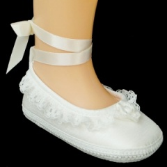 Baby Girls Ivory Lace Ballet Style Dupion Christening Pram Shoes