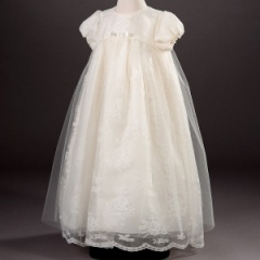 Baby Girls Ivory Millie Grace 'Anna' Lace Christening Gown & Bonnet