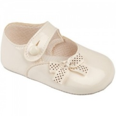 Baby Girls Ivory Patent Polka Dot Bow Baypods Pram Shoes