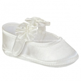 Baby Girls Ivory Satin Flower Rosette Christening Shoes
