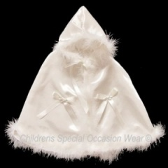 Baby Girls Luxury Ivory Satin Cape with Hood
