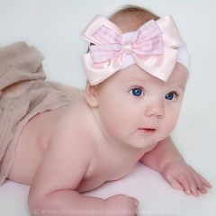 Baby Girls Pink & White Cotton Headband with Large Gingham Bow