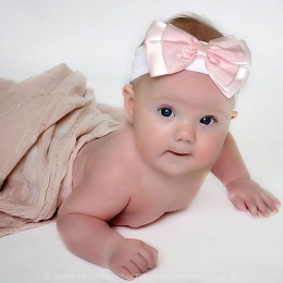 Baby Girls Pink & White Cotton Headband with Large Satin & Organza Bow