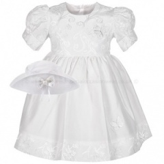 Baby Girls White Butterfly Special Occasion Dress & Hat