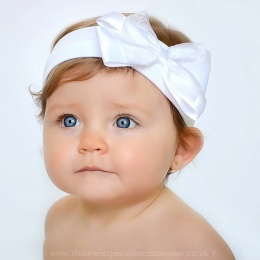 Baby Girls White Cotton Headband with Large Satin & Organza Bow