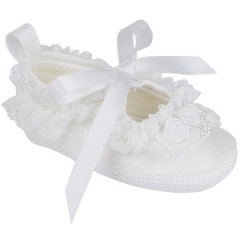Baby Girls White Dupion Satin Lace Christening Pram Shoes 'Early Days'