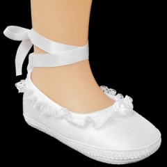 Baby Girls White Lace Ballet Style Dupion Christening Pram Shoes